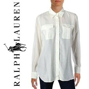 NWT RALPH LAUREN Semi Sheer Silk Blend Button Down